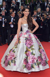 Wholesale 2014 New Fashion Celebrity dresses sonam kapoor poses Cannes Festivel Strapless Floor length Ball gown Myriam fares Evening dress
