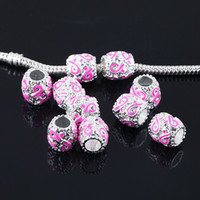 Wholesale 50pcs x9mm Enamel Pink Ribbon Breast Cancer Awareness Big Hole Beads Pendants fit European Jewelry Findings