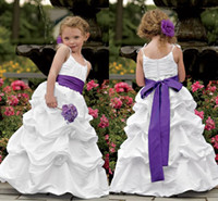 Wholesale BM New Fashion Spaghetti Straps White Cupcake Ball Gown Pleats Sleeveless Cute Flower Girl Dresses with Purple Bowknot Belt at Back