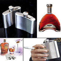 Wholesale S5Q Oz Stainless Pocket Liquor Red Wine whiskey Round Hip Flask Metal Set Gift AAAADL