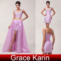 Hot Sale Beaded Satin V- neck Short Prom Dresses Sheath Cockt...
