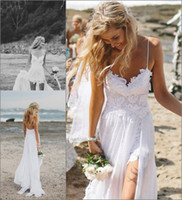 Cheap 2014 Boho Lace Beach White Wedding Dresses Spaghetti Straps Backless A-Line Sweep Train Dreamy Floaty Chiffon Skirt Low Back Bridal Gowns