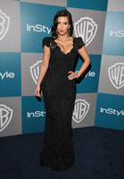 Real Photos other Scoop Celebrity Dress Good Design New Fashion Kim Kardashian Sexiest Black Lace golden globes CBD059
