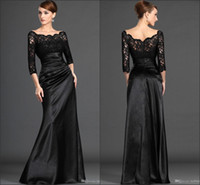 silk stretch satin - 2015 New Lace Mother Of The Bride Dresses With Bateau Long Sleeve Backless A Line Floor Length Stretch Satin Black Evening Party Gowns