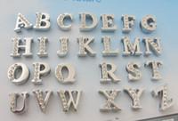 achat en gros de strass lettres de charme-Livraison gratuite 260pieces / lot alliage de zinc montage 8MM demi lettres de diapositives strass A-Z diy diapositives Charms Fit 8MM femmes Bracelets Colliers pour animaux de compagnie