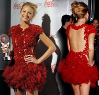 Wholesale Blake lively Red lace cocktail dresses with rich ruffles on the skirt naked back Mini women party gowns sexy homecoming dresses