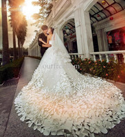 Wholesale 2014 New Luxury Wedding Dresses With Sweetheart Crystals Beads Backless Handmade Flowers A Line Chapel Train Tulle Hot Church Bridal Gowns