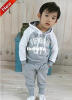 sweatsuits - Hot Sale Girls Boys Sweatsuits Letter Hoody Ups Elastic Waist Casual Pants Sets Children Clothes retail