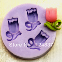 Cheap Mini 3 Tulip flowers fondant mold cheap cake decorating supplies soap Silicone moulds baking kitchenware cupcake
