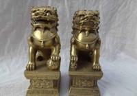 brass statue - China Pure Brass Sculpture FengShui Foo Fu Dog Men Lion Statue Pair z