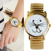 Wholesale New Fashion men women Unique Gold Tiger Cat Watch Unisex Bracelet Beard Watches