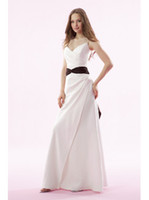 Wholesale A Line Spaghetti strap V Neck Anke length Satin Standard cod White Black Bridesmaid Dresses New Year Hote sale Simple