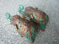 Cheap Lovely Old turquoise & jade with silver Statue Sculpture----pair of elephant,large size, best collection&adornment