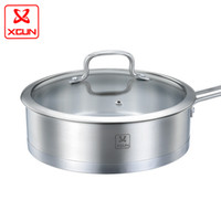 Wholesale Sunbeam Germany stainless steel double bottom frying pan with glass lid nonstick frying pan uncoated Smoke