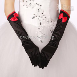 Wholesale No Risking Bridal Gloves Satin Below Elbow Length Full Finger Bow Black And Red Long Gloves For Wedding Prom Quinceanera Cocktail Celebrity