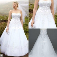 2014 A Line Wedding Dresses Plus size Strapless lace Appliqu...