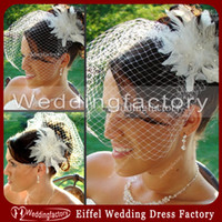 Wholesale Short Tulle Mesh Bridal Veil White Ivory Bridal Headwear Feather Birdcage with Beads