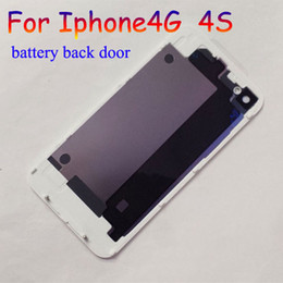 50PCS Free shipping Back Glass Battery Housing Door Back Cover Replacement Part with Flash Diffuser for iphone 4 4S