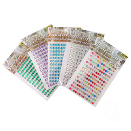 Wholesale 5mm Acrylic Mobile Phone Round Rhinestone Stickers Self Adhesive DIY Mixture Color