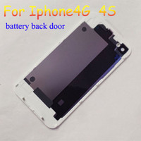 Wholesale 120pcs DHLGlass Back Cover for iphone G S Battery Assembly Housing Door Replacement Part GSM black white
