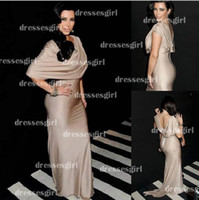 Cheap 2014 Kim Kardashian Red Carpet Dresses Crew Pleated Chiffon Backless Champagne Mermaid Celebrity Dresses Elegant Glitz Evening Gowns BO3025