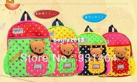 Wholesale New Cute Dot Kid Children backpacks with toy bear Cartoon Student School bag for boy girl Mochila Bolsas Bolsos
