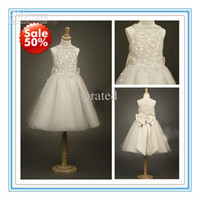 flower appliques lace - 2015 New Arrival Flower Girls Dresses Little Girl Formal Gown With Dark Ivory A Line Lace Jewel Bow Appliques Sequins Tea Length Tulle