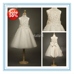 Wholesale 2015 New Arrival Flower Girls Dresses Little Girl Formal Gown With Dark Ivory A Line Lace Jewel Bow Appliques Sequins Tea Length Tulle