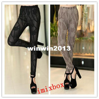 Cheap Wholesale - Free shipping 2013 new Arrivals imitation leather black leggings nine minutes of pants fashion Leggings W3279