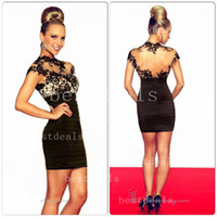2014 hot new sexy black lace sheer lace short prom dresses a...