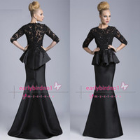 Wholesale 2014 Vintage Mother Of The Bride Dresses Sexy Illusion Crew Neck Long Sleeve Applique Lace Satin Mermaid Black Formal Evening Gowns