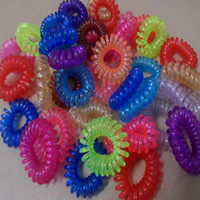 Wholesale 100pcs Girls Mixed colour Stretch Telephone Wire Cord Rope Plastic Hair Band