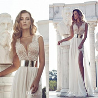 Wholesale Julie Vino Vintage Prom Dresses New Beach Cap Sleeve Beaded Bodice Chiffon with Plunging Neck Side Slit Sheer Bridal Evening Gowns