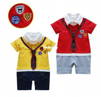 Boy Summer  Wholesale - Toddler newborn baby romper gentleman festival party children clothing one piece short sleeve v-neck cotton kids clothes