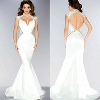 Cheap Sexy White Satin Evening Dress V Neck Cap Sleeves High Neck Beaded Floor Length Mac Duggal Backless Mermaid Crystal Evening Dresses 2014