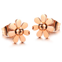 little girl jewelry - n226 Fashion Girl Jewelry IP Rose Gold earring stainless steel Little Daisy Studs