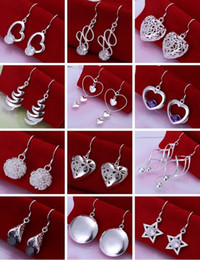Fashion Cheap Jewelry Mixed 50pair Women girl earring 925 silver Earring mix order Best gift Free shipping Hot Sale