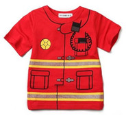 Cheap doomagic boys t-shirts jersey fire engine children's t shirts short sleeve tshirts tops kid costume shirt jersey boys clothes D2