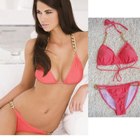 Bralette Sets Nylon Normal Super micro bikini new 2014 products swimwears pink Brazil women swim chain sexy fashion bikinis set free shipping