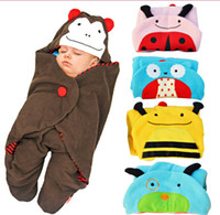 baby swaddle - Hot Sale New Sleeping Bags Baby Animal Swaddle Blanket with Legs Cartoon Owl Polar fleece Sleeping Sacks Bags Blanket Wrap Sleep Sack Hooded
