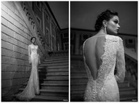 Cheap 2014 Berta Winter Lace Sheer Wedding Dresses Illusion Bateau Court Train Pearl Back Wedding Bridal Dresses Gowns