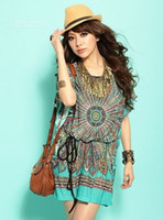 Wholesale New style Vintage bohemian Casual Dresses Women s Plus Size Ice Silk T shirt Dress d5