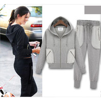 Cheap Wholesale - 2013 autumn winter fashion women cotton hoody sweatsuits brand sport item design cute top for woman dress sweat suit plus size