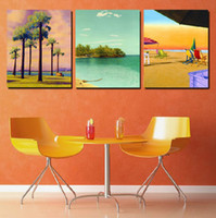More Panel Fashion Landscape 3 Pieces Modern Painting Home Decorative Art Picture Paint on Canvas Prints The towering palm trees and comfortable beach chair