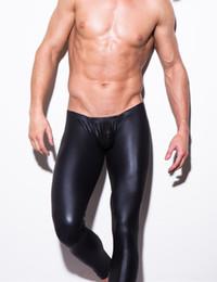 Wholesale pic Men s Black Faux Leather Low Waist Sexy Long Johns Men Underwear Pants Gay Underwear Men s Leather Underwear