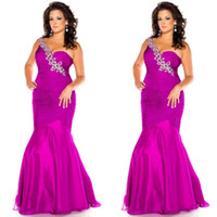 Wholesale 2014 Top Glamorous Crystal Beaded One Shoulder Plus Size Mermaid Style Special Occasion Dresses Floor Length Evening Gown Prom Dresses
