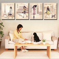 Fashion architecture canvas - 4 Panel Modern Painting Home Decorative Art Picture Paint on Canvas Prints Paris Rome London and New York s famous architecture and girl