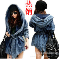 belted denim jacket - Fashion Women Lady Denim Trench Coat Hoodie Hooded Outerwear Jean Jacket Cool