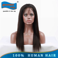 Wholesale 2014 New Gorgeous Silky Straight Indian Remy Human Hair quot quot Jet Black Lace Weft Wig For Lady