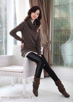 Cheap 5pcs lot Korean Style Women's Faux leather Splicing Leggings Classic Black Tights Ladies Pants P05